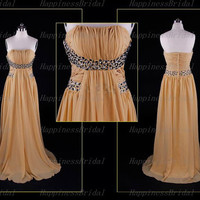 A-line Strapless Chiffon Floor-length Beaading Bridesmaid Dresses Long Prom Dresses Formal Dresses  Evening Dresses Party Dresses 2013