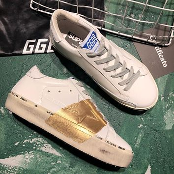 Golden Goose Ggdb Hi Star Sneakers In White Leather And Gold Leaf Strap