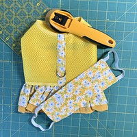 Yellow Air Mesh Ruffled Dog Vest Harness and Face Mask