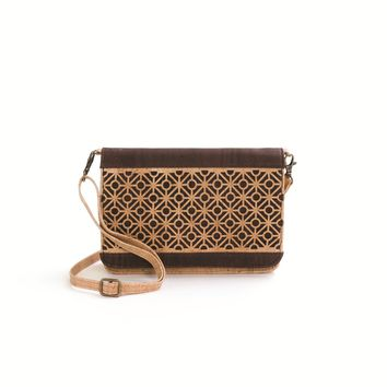 """Cross Body Bag With""""Tiles""""Pattern (Beige/Choc.Brown)"""