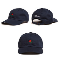 The Hundreds Rose Strap Back Cap Men Women Adjustable Dark Blue Golf Snapback Baseball Hat Casquette