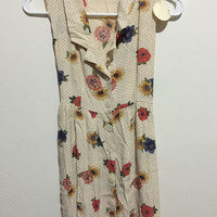1990s Cream Buttoned up Floral Dress