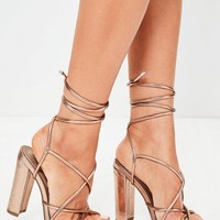 Missguided - Rose Gold Multi Strap Sandals