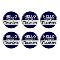 Theodore Hello My Name Is Plastic Resin Button Set of 6
