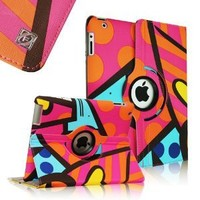 FINTIE (Hot Pink) Graffiti 360 Degrees Rotating Stand Smart Cover PU Leather Case for Apple iPad 4th Generation With Retina Display, the new iPad 3 & iPad 2 (11 Styles available)