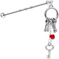 Handcrafted Entire Ring of Keys to Your Heart Industrial Barbell | Body Candy Body Jewelry
