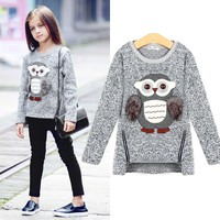 spring autumn New Arrival Big Girls Kids Coat Jackets Cartoon Cute Owl Casual Cotton 4-16y Old Girl Boy Clothes Lining Fleece