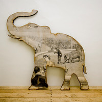 Wall Hanging Elephant Art with Antique Print Vintage Circus Cottage Decor