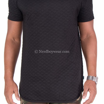 Quilted Longline Extended Length Fitted Shirt