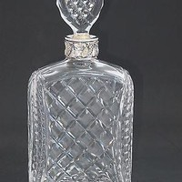 Hand Cut glass silver ring neck decanter oval stopper Portugal