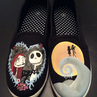 Nightmare Before Christmas- Jack and Sally Hand Painted Shoes, Birthday Gifts, Custom Designed