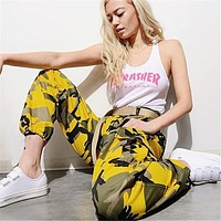 Women Casual Fashion Camouflage Show Thin High Waist Sweatpants Leisure Pants Trousers