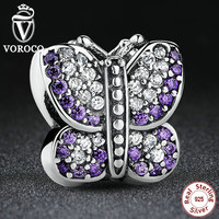 Stunning 925 Sterling Silver Sparkling Butterfly Purple CZ Animal Charm Fit Pandora Bracelet Jewelry Making S023