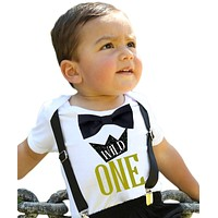 Wild One First Birthday Shirt Gold and Black Suspenders Bow Tie
