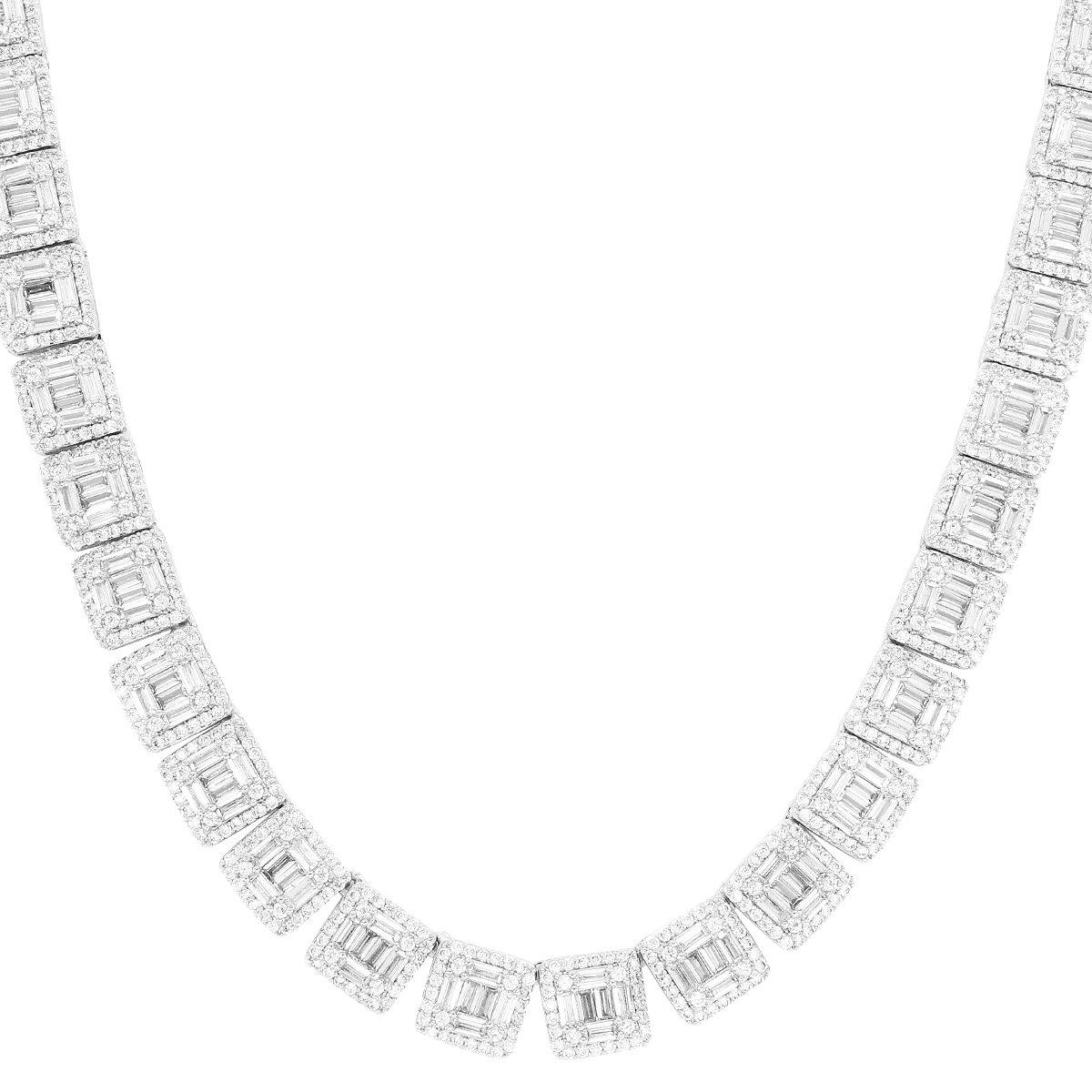 Image of Baguette & Solitaire New Square Links IcedOut Tennis Chain