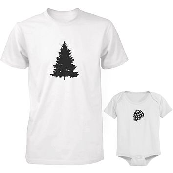 Daddy and Baby Matching White T-Shirt / Bodysuit Combo - Pine Tree and Pinecone