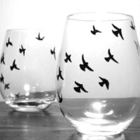 Painted Stemless Wine Glasses  Birds in Flight by PrettyMyDrink
