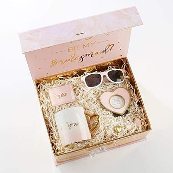 Pink and Gold Will You Be My Bridesmaid Kit