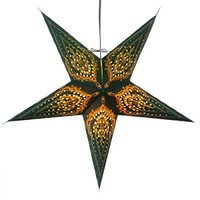 Green Bandana Paper Star Light Lamp Lantern with 12 Foot Power Cord Included