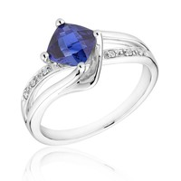 Created Sapphire and Diamond Sterling Silver Ring