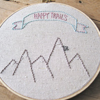 Embroidery Hoop Art. Happy Trails with Mountains and Bicycle. 7 inch