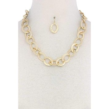 The Brenta, A 14K Yellow Gold Flat Oval Link Necklace & Earring Set