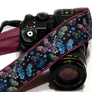 Butterflies Camera Strap. SLR/DSLR Nikon Canon Camera Strap. Gift for Her. Camera Accessories.