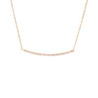 Curved CZ Bar Necklace