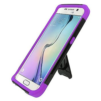 Samsung Galaxy S6 Edge Black TPU + Purple PC Hybrid Case w/Stand
