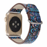 Leather Band Strap Flower Prints
