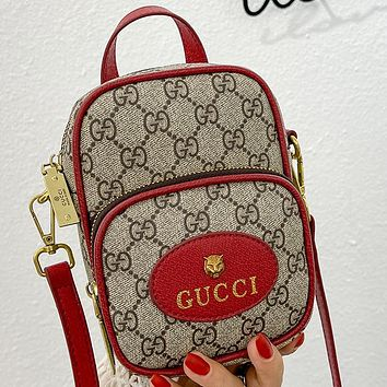 GG new product stitching color letter printing ladies small mobile phone bag shoulder bag cosmetic bag Red