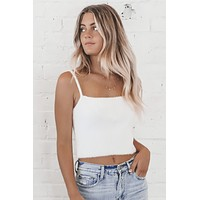 Cuddle Up White Crop Top