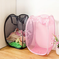 2016 Hot Folding Nylon Mesh Fabric Laundry Basket for toys Washing Basket Dirty Clothes Basket portable storage Basket HE11