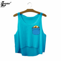 Adventure Time Cartoon In Cup Printed Blue Crop Tops Summer Style Sleeveless Women Fashion Tank Top Casual Cropped Vests F540