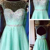 A Line Round Neck Short Green Prom Dress, Short Green Graduation Dress, Short Green Homecoming Dress