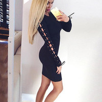 Fashion Round Neck  Long sleeve Package hip Dress