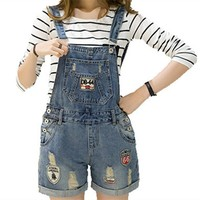 Distressed Washed Hole Denim Jumpsuit Romper Women Denim Coverall Playsuit Short Jeans Female Overalls Patchwork Catsuit