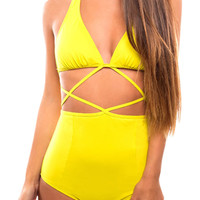 Yellow High Waist Halter Cut Out Swimsuit