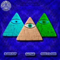 EyeGloArts American Made Gold Leaf & Glow in the Dark Pendant Illuminati All Seeing Eye Pyramid in sand tan and aqua Party Favors