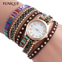 Ethnic Boho Multilayer Wrap Bracelet Watch Women Wristwatches Rivets Quartz Watch Leather Rhinestone Watches Women reloj mujer