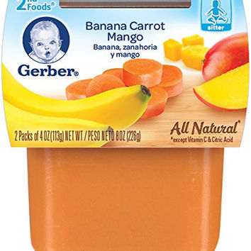 Gerber 2nd Foods Banana Carrot Mango, 4 Ounce Tubs, 2 Count (Pack of 8)
