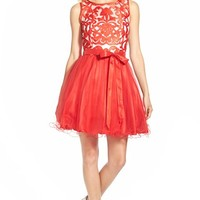 Junior Women's Steppin Out Embroidered Bodice Skater Dress,