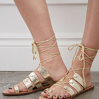 Crackled Metallic Lace-Up Sandals