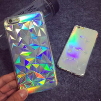 Hologram Iridescent 3D Diamond Rainbow Opalescent Triangle Pastel Metallic Oil Print TPU Shell Case For iPhone 5S 6 6s 6s plus