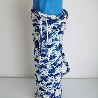 Vegan Blue White Yoga Mat Bag Cotton Crochet Exercise Mat Bag Retro Style Crochet Bag