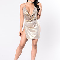 Simple Satisfaction Dress - Gold