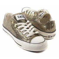 Converse Women's All Star Chuck Taylor Party Sparkle Ox Casual Shoe Gold (10)