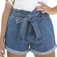 Women's Rolled Cuff Denim Shorts with Elastic Waistline