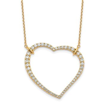 14K Yellow Gold Heart Pendant Necklace