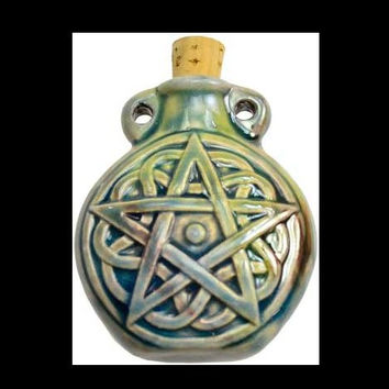 Pentagram Raku Oil Bottle Pendant with Cork